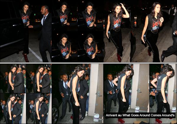 - 13/10/16 : Kendall a été aperçue alors qu'elle arrivait au restaurant « Catch LA » situé à West Hollywood. C'est dans une tenue assez décontract', mais plutôt sympathique, que nous retrouvons Kendall Jenner a qui j'accorde un beau petit top ! -