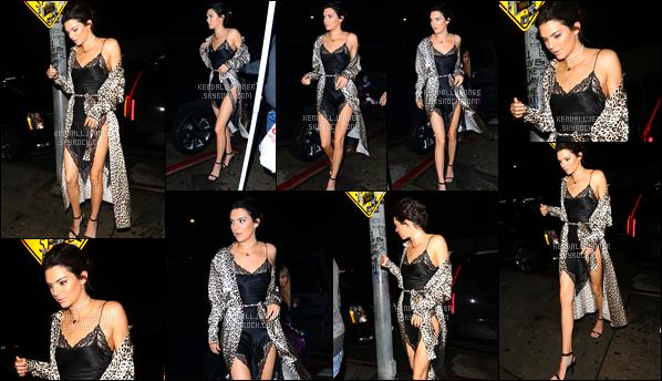 - 31/12/16 : Kendall a été aperçue arrivant au restaurant/boîte de nuit « The Nice Guy », West Hollywood. C'est pour fêter la nouvelle année que nous retrouvons Kendall à qui j'accorde un gros top pour sa tenue, sa petite robe était superbe ! -