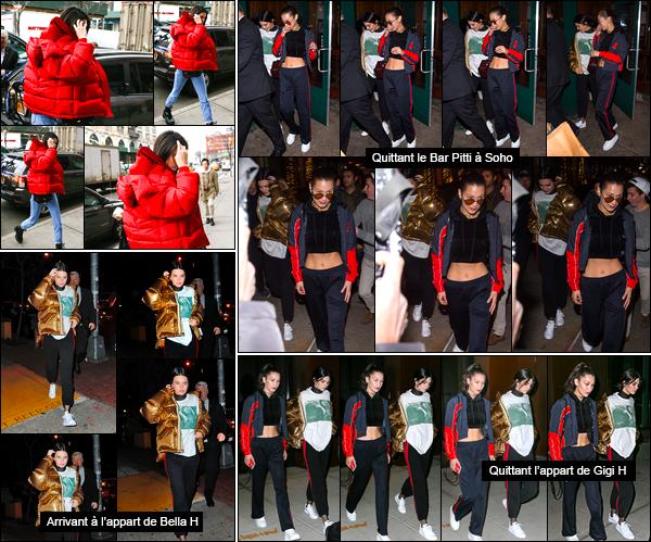 - 18/01/17 : Kendall et sa s½uront été aperçues alors qu'elles se rendaient à l'appartement de Gigi Hadid. Alors que Bella H. partait rejoindre sa grande s½ur, Kendall elle rejoignait sa meilleure amie. Le petit trio s'est ainsi réuni en ce jour ! -