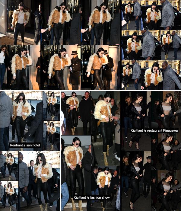 - 20/01/17 : Kendall a été photographiée alors qu'elle arrivait devant l'hôtel Ritz, qui se situe dans Paris. C'est la veille, le 19 janvier, que notre jeune mannequin a fait son arrivée en France. Pas très fan de sa veste, j'accorde donc un bof ! -