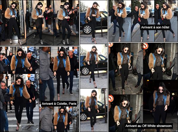 - 21/01/17 : Toujours de passage en France, Kendall s'est rendue au restaurant L'Avenue, toujours à Paris. La belle portait une tenue assez originale, avec un haut transparent ! So sexy. Qu'est-ce que tu en penses ? Je lui accorde un petit bof ! -