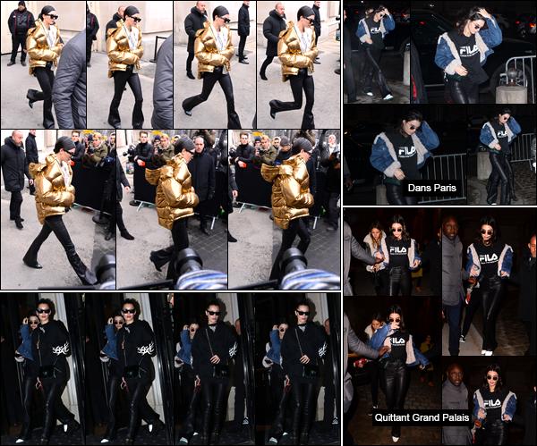 - 24/01/17 : Kendall Jenner a été aperçue alors qu'elle venait tout juste de quitter « LeGrand Palais », Paris. Plus tard, notre belle it-girl a été photographiée alors qu'elle quittait l'hôtel «Four Seasons Hotel George V » également situé à Paris, flop. -