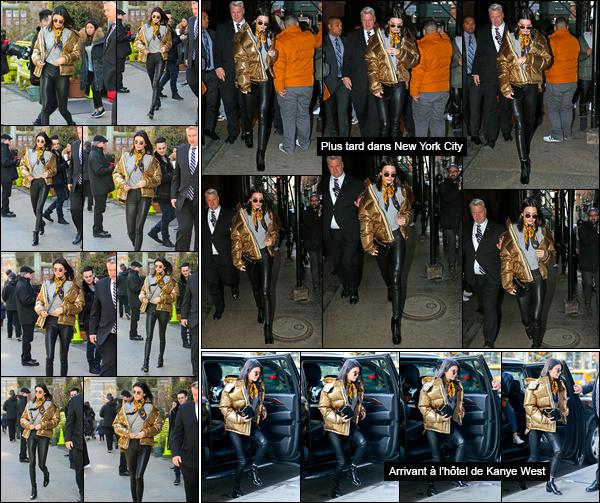 - 16/01/17: Toujours le même jour, notre belle américaine a été photographiée dans les rues de New-York. Décidément notre belle ne s'arrête plus et ne compte pas s'arrêter pour aujourd'hui. Portant toujours la même tenue cela reste un top ! -