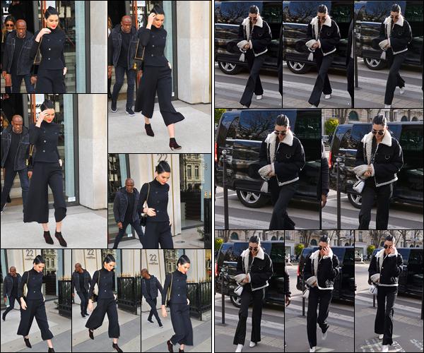 - 02/03/17: Kendall Jenner a été photographiée quittant le magasin «Louis Vuitton Paris Motaigne», Paris. Un peu plus tard notre belle mannequin a été photographiée quittant le restaurant « L'Avenue » qui était également situé à Paris, un top. -