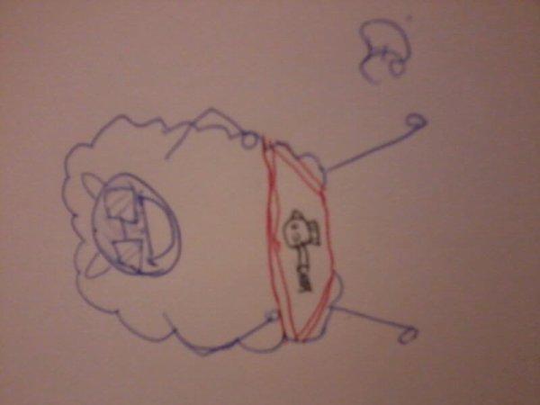 Le grand mouton Feliciti tagué
