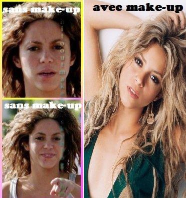 Shakira , vous la préferez avec ou sans make-up ???