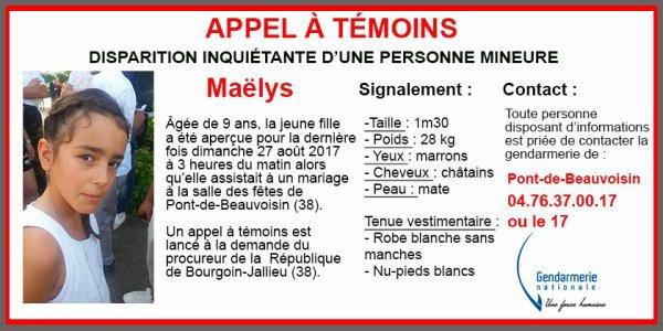GendarmerieNationaleCompte certifié @Gendarmerie Abonné Plus ‼️#AppelàTémoins lancé par les gendarmes de l'#Isère après la disparition inquiétante de Maëlys, 9 ans, à Pont-de-Beauvoisin #MerciRT