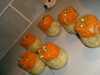 Verrine deux couleurs : purée de carotte et de pomme de terre