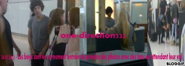 20.05.2012 - Les garcon sont en ce moment entrain de prendre des photos avec des fans en attendant leur vol.
