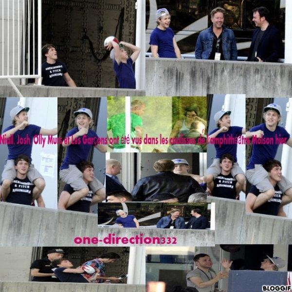 01 Mai 2012: Niall, Josh, Olly Murs et Les Garçons ont été vus dans les coulisses de l'amphithéâtre Molson hier, avant leur concert à Toronto.