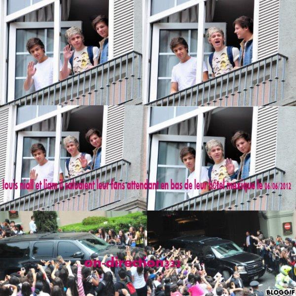 louis niall et liam il saluaient leur fans attendant en bas de leur hôtel mexique le 06/06/2012