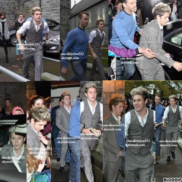 le 9 novembre 2013 - Niall en dehors de l'église de Mullingar; où avait lieu le baptême de Theo