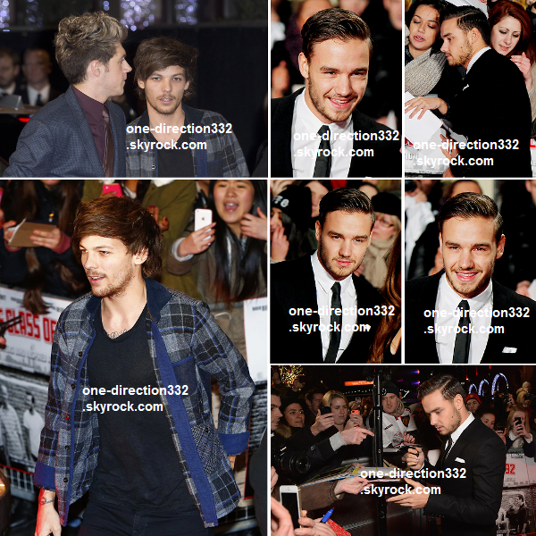 """le 1 decembre 2013 - Harry, Niall, Louis et Liam accompagné de Sophia à l'avant-première du film """"The Class of 92"""". ."""