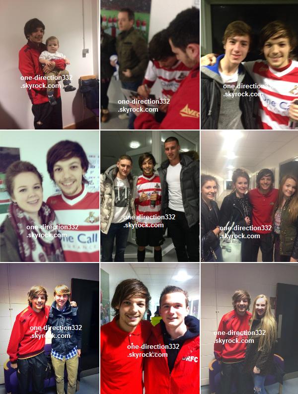 le 26 février 2o14 | Louis lors de son arrivée au stade Keepmoat à Doncaster