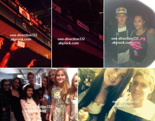 le o9 mars 2o14 | Niall avec la femme de Tom Fletcher au concert d'Ellie Goulding.