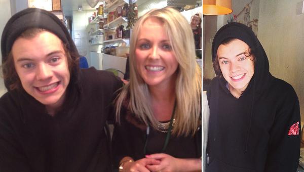 le o9 avril 2o14 - Harry a pris une photo avec une fan dans un pub.