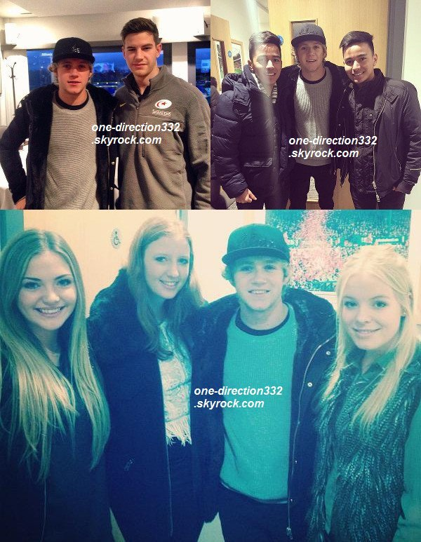 le 3 janvier 2015 -  Niall a été voir un match de rugby. Dans les backstages, il a pris des photos avec des fans.