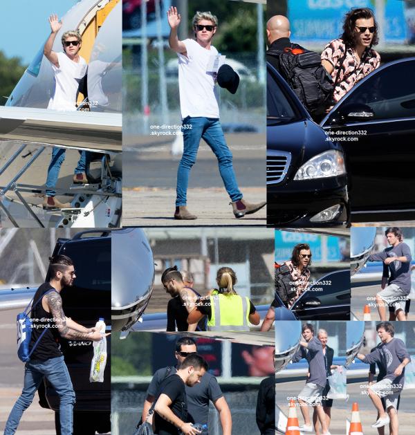 le 11 février 2015 - les boys quittant Sydney, en jet privée.