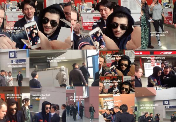 le 24 février 2015 - zayn et louis arrivant au japon