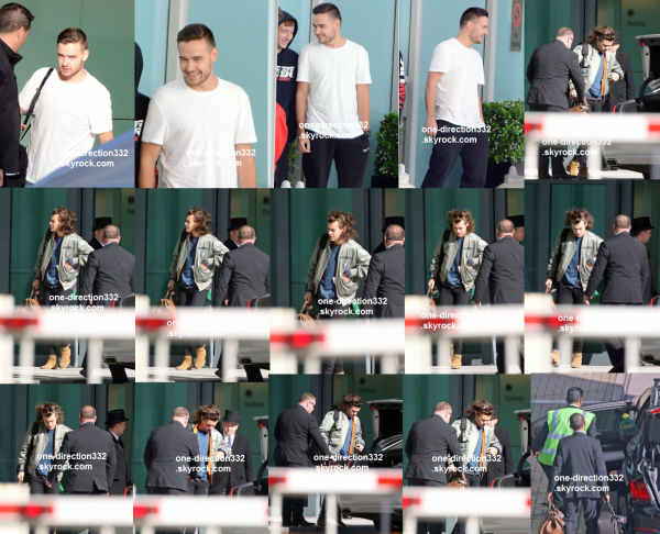 le 3 février 2015 - les boys arrivant à l'aéroport d'Heathrow à Londres