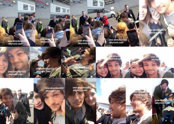 le 19 avril 2015 - Louis avec des fan l'extérieur du stade à Doncaster + liam au match de louis