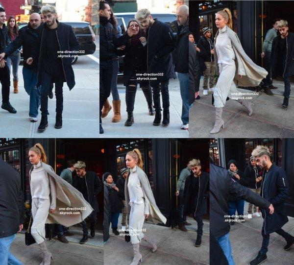 le 5 janvier 2016 - zayn et sa copine gigi dans les rue de new york