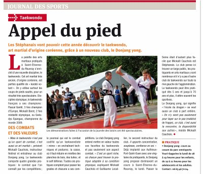 Article du stephanais journal de saint etienne dojang yong taekwondo - Journal saint etienne ...