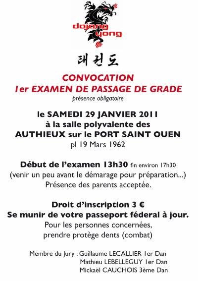 EXAMEN DE PASSAGE DE GRADE....Convocation YONGS...