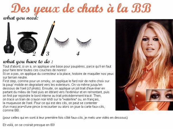Qui n'a jamais rêvé d'avoir des yeux séducteurs et sensuels à la Brigitte Bardot?! Voici un petit tutoriel pour vous décrire son makeup.
