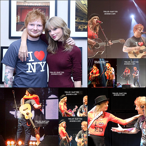 """Le 1/11/2013  : Taylor était au 2ème des  3 concerts  de Ed Sheeran à Madison Square Garden,  New York City  . Ils ont chanté  '' Everything Has Changed""""  .   Taylor est magnifique, je lui donne un grand Top et vous ?"""