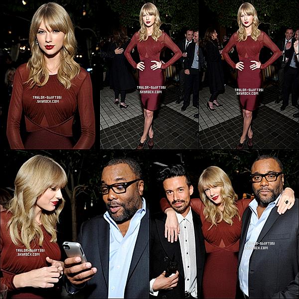 Le 23/11/2013 : Taylor a fait une apparition lors de la soirée de  Gala de fin d'année organisée par Weinstein Company, la socièté en charge du film  « One Chance » .  Je lui donne un Top et vous ?