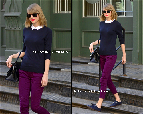 05.04.14 : Taylor a été aperçue en train de sortir de son appartement de New York City.