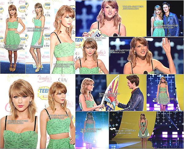 Le 10/08/2014:Taylor était au Teen Choice Awards , Elle a remporté l'award « Choice Female Country Artist » .  J'aime beaucoup sa tenue , je lui donne un TOP et Vous?