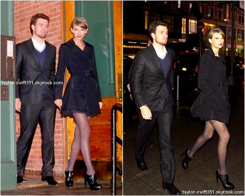 23.12.14 : Taylor quittant (gauche) et rentrant dans son appartement (droite).