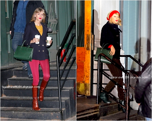 01.01.15 : Taylor quittant son appartement en compagnie de ses gardes du corps (photo de gauche)