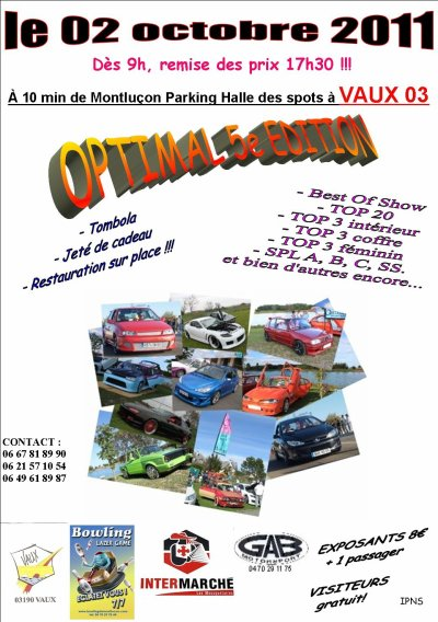 [2 Octobre] 5e Meeting Optimal Domérat Tuning - Vaux (03)