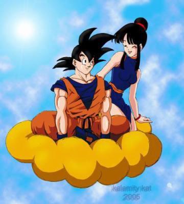 Goku dans son nuage magique avec chichi dragon ball - Petit sangoku ...