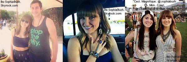 APPARENCES : 13/04 : Sophia se trouve au grand festival de musique Coachella qui a lieu en Californie, elle y est en compagnie de Dan Fredinburg. Il semble que leur relation s'officialise. Ils sont mignons ensemble, par contre il aurait pu mettre autre chose que des tongs :) Notre Sophia est plus que ravissante, à nouveau!