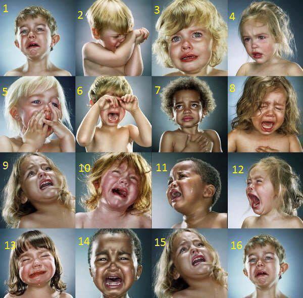 choisis comment tu pleurais quand tu étais petit