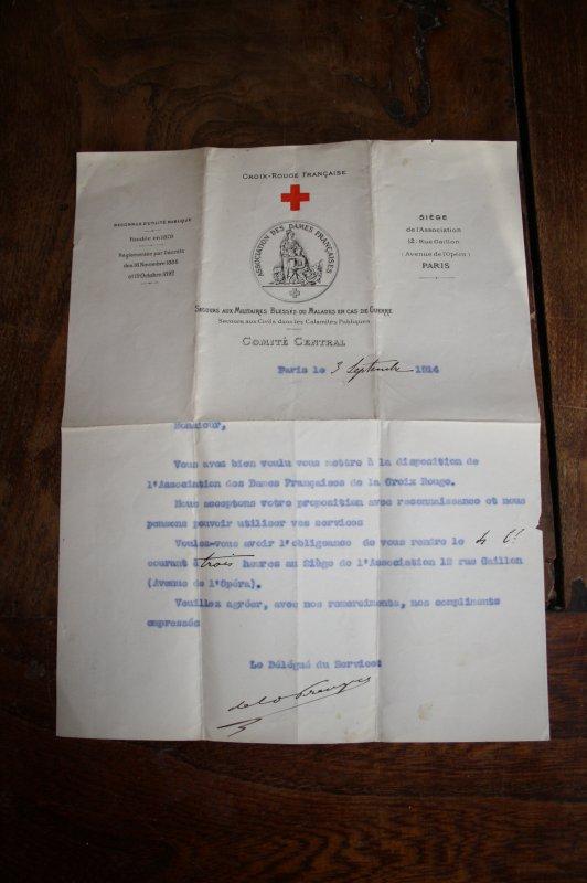 Lettre de la croix rouge Française du 3 septembre 1914.