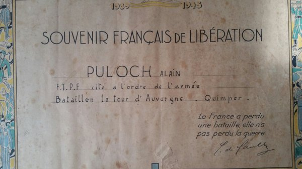 Citation d'un Francs-tireurs et Partisans Français + photo  ( don de Raynalde Bouchard )