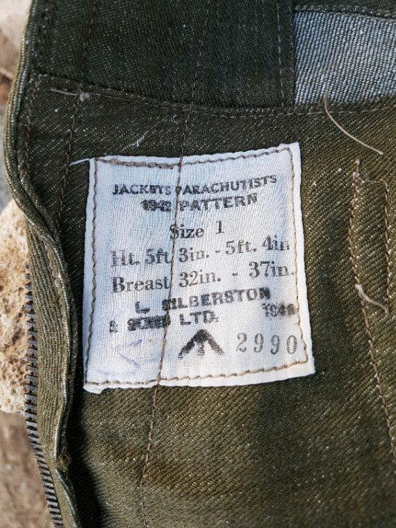 Oversmock, veste de saut de parachutistes Anglais datée 1942.