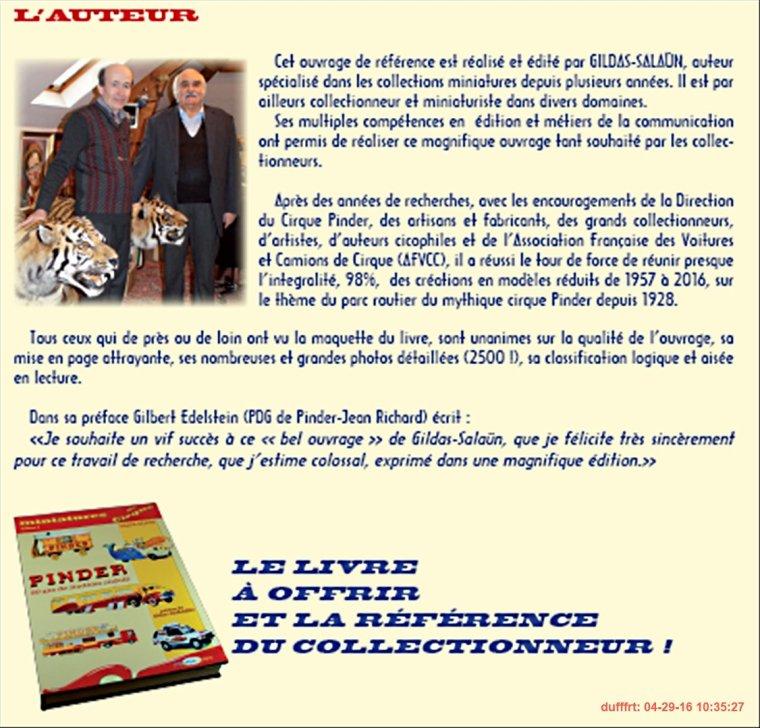 2016;  Le Cirque Pinder en Miniatures, La Référence du Collectionneur;