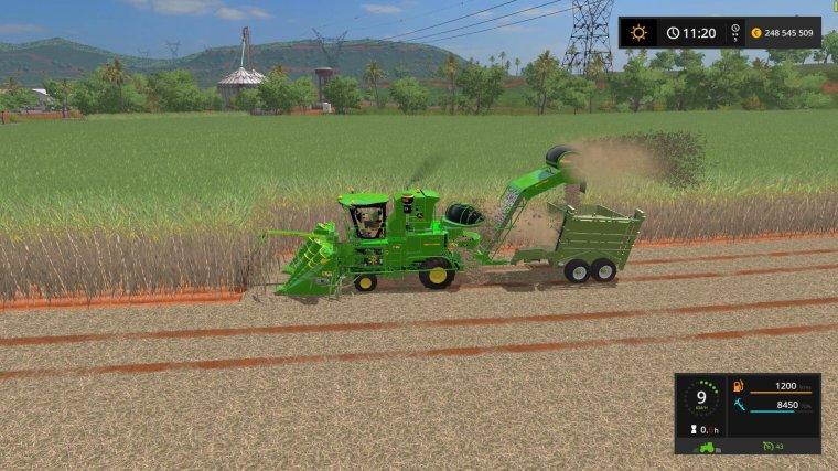 fs17   John Deere  CH570   canne à sucre, sugarcane,  partie 2