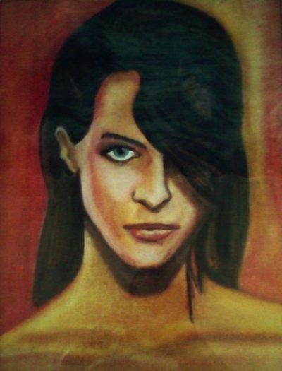 La femme au regard bleu, pastels à l'huile, 40*30cm, carton entoilé, 2009
