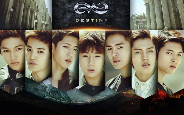 Infinite - Destiny ~ Don't leave, don't turn around, I can't let you go like this Even if you leave me like this, you can't escape me./ Cause you are my destiny ♪