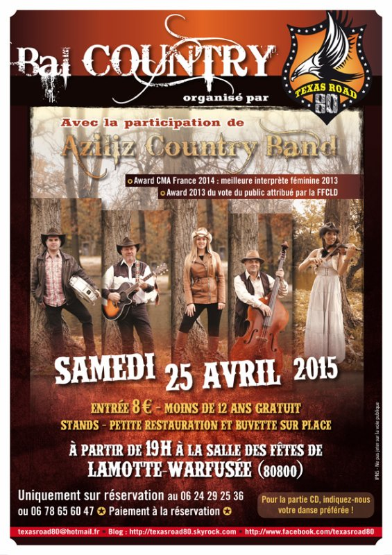 BAL COUNTRY LE SAMEDI 25 AVRIL 2015 AVEC AZILIZ COUNTRY BAND