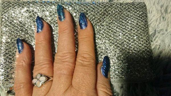 Mes ongles... Bleu jean et bleu pailleté
