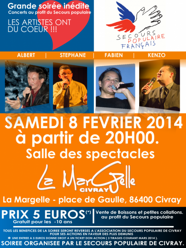 Grande soirée concerts au profit du Secours Populaire de Civray.