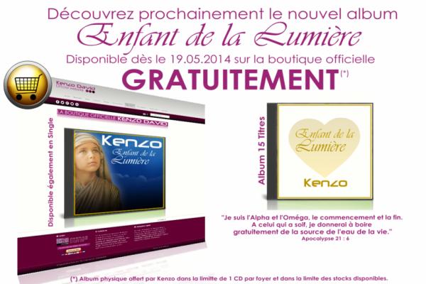 """Découvrez prochainement le nouvel album de Kenzo """" Enfant de la Lumière """"."""